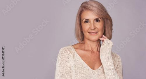 Happy smiling senior woman isolated