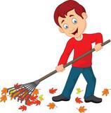 Happy boy raking leaves - 172844903