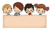 Grupo de niños con un cartel - 172847715