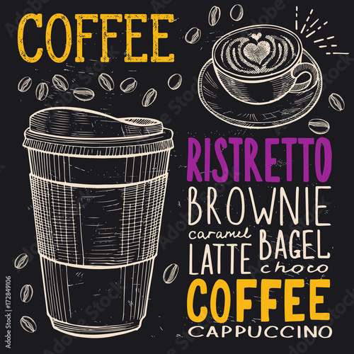 Coffee poster for restaurant. Poster