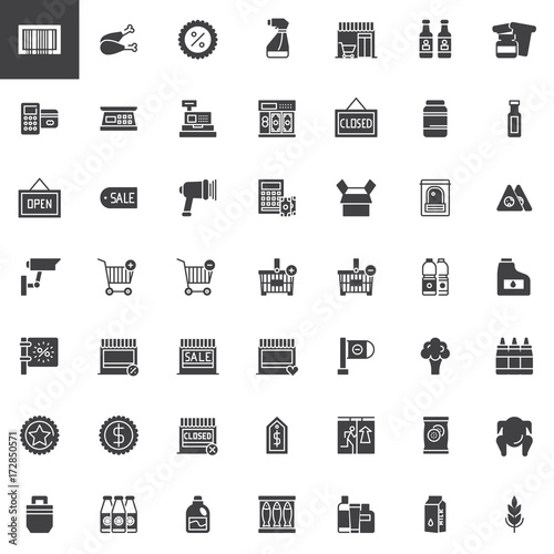 Supermarket shopping products vector icons set, modern solid symbol collection, filled pictogram pack. Signs, logo illustration. Set includes icons as cashier machine, barcode scanner, food