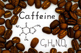 Chemical formula of Caffeine with coffee beans - 172851151