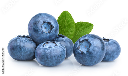 Foto Murales blueberry isolated on white background
