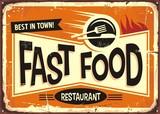 Fast food restaurant vintage tin sign design - 172851930