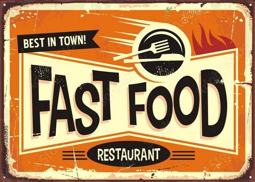 Fast food restaurant vintage tin sign design - 172851930