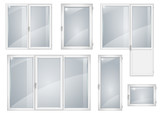 Set of white plastic windows