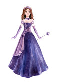 Princess in violet dress with crown - 172858169
