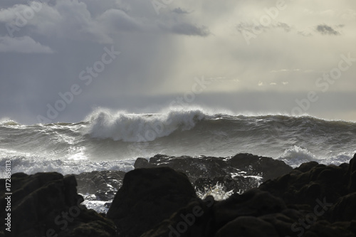 Rocky seascape before rain