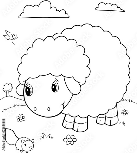 Fotobehang Cartoon draw Cute Sheep Vector Illustration Art