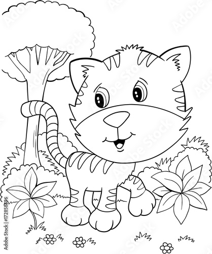 In de dag Cartoon draw Cute Tiger Cub Kitten Vector Illustration Art