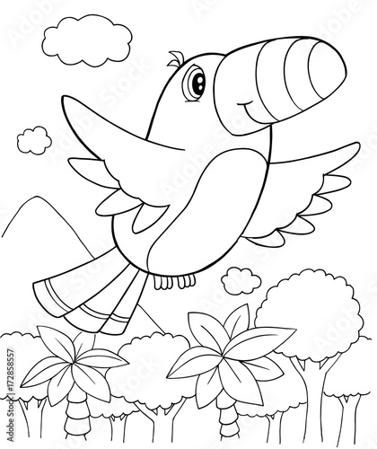 In de dag Cartoon draw Cute Bird Vector Illustration Art