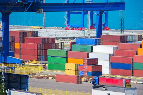 Aluminium Industrial Container Cargo freight ship for Logistic Import Export concept.