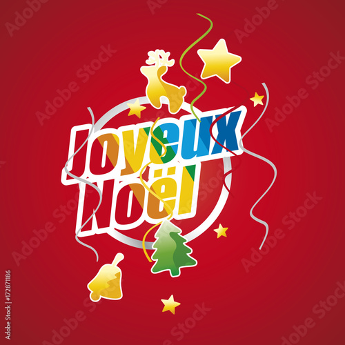 merry christmas french language joyeux nol colorful red