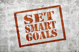 set smart goals graffiti on stucco wall