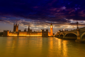 Beautiful view of Westminster by night