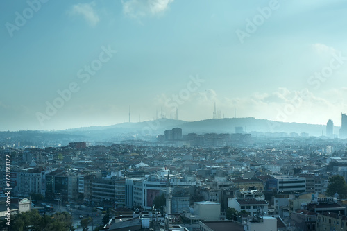 Endless Packed House Roofs with clouds in istanbul Poster
