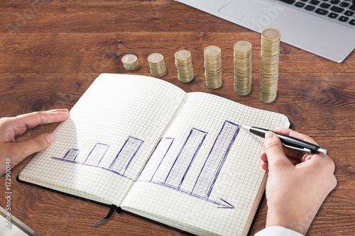 Fototapeta Businessperson Drawing Graph On Notebook
