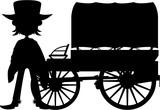 Cartoon Wild West Cowboy And Wagon Silhouette Wall Sticker