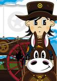 Cartoon Wild West Cowboy on Horse