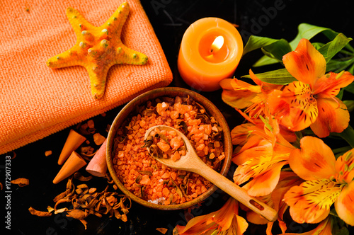 Poster Spa Spa background-towel, orange orchid, and spoon ,petals in bowl, starfish