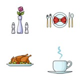 Vase with a flower, table setting, fried chicken with garnish, a cup of coffee.Restaurant set collection icons in cartoon style vector symbol stock illustration web.