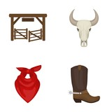 Gates, a bull's skull, a scarf around his neck, boots with spurs. Rodeo set collection icons in cartoon style vector symbol stock illustration web. - 172908173