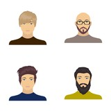 The face of a Bald man with glasses and a beard, a bearded man, the appearance of a guy with a hairdo. Face and appearance set collection icons in cartoon style vector symbol stock illustration web. - 172908312