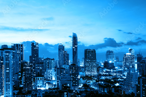 urban cityscape on blue time
