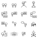 Set of Cartoon simple line charactor in variety action of Business idea concept for vector graphic design - 172918722