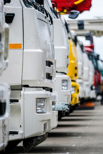 """Moscow, Russia - September, 9, 2017: new trucks on a parking near the exebition center """"Krocus city"""" in Moscow, Russia"""
