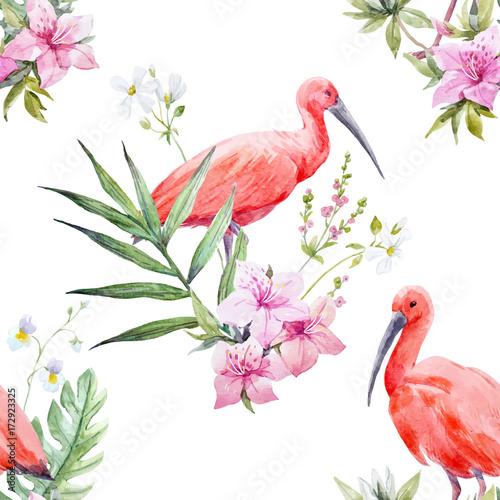 Watercolor tropical vector pattern - 172923325