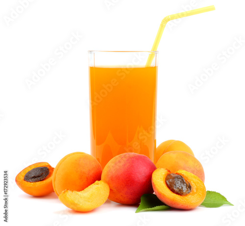 Fotobehang Sap glass of apricot juice isolated on white background