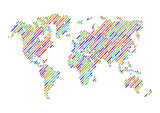 Abstract Hatched World Map with Color Lines. World Stripes Map