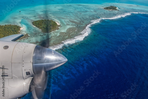 Aitutaki Polynesia Cook Island aerial view from airplane