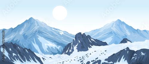 Tuinposter Lichtblauw Panorama of mountain peaks