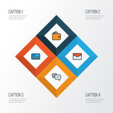 Business Colorful Outline Icons Set. Collection Of Purse, Bank Cash, Conversation And Other Elements. Also Includes Symbols Such As Conversation, Message, Chat.