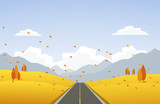 Vector illustration: Autumn hillside landscape with road and leaves fall. - 172946947