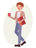 Cartoon character design male office man stand holding coffee cup and documents