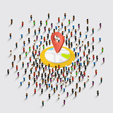 People stand around the location on a white background . Vector illustration - 172955913