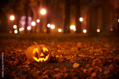 canvas print picture Kind Halloween Pumpkin in the park