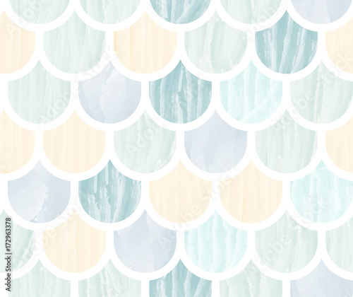 Cotton fabric Fish scale watercolor abstract seamless pattern