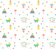Baby pattern in pastel colours with toys & objects - 172970333