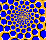 Optical illusion - blue hexagons moving on a yellow background - 172970943
