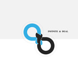 Hand sign and infinite logo elements design.Infinity sign.The best idea sign.Good idea logo. - 172975760