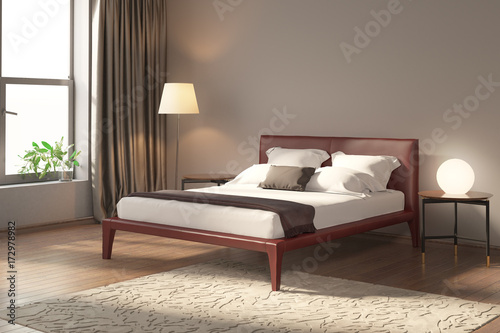 Modern bedroom with red bed