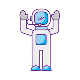 astronaut in space suit character profession mission vector illustration - 172979720