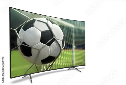 Staande foto Bol 4k monitor isolated on white