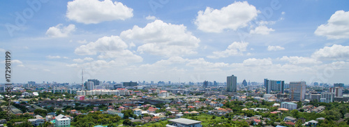 Fototapeta Aerial city view from flying drone at Nonthaburi, Thailand. top view landscape