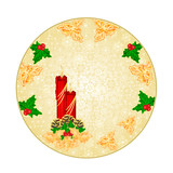 Button  circle  Christmas decoration snowflakes with red candlestick and pine cones and gold holly  vintage  vector illustration editable hand draw