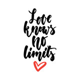 Love knows no limits - LGBT slogan hand drawn lettering quote isolated on the white background. Fun brush ink inscription for photo overlays, greeting card or t-shirt print, poster design.